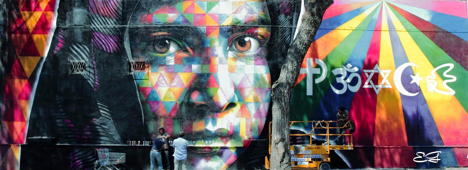 Eduardo kobra peace new mural rome italy for Mural eduardo kobra