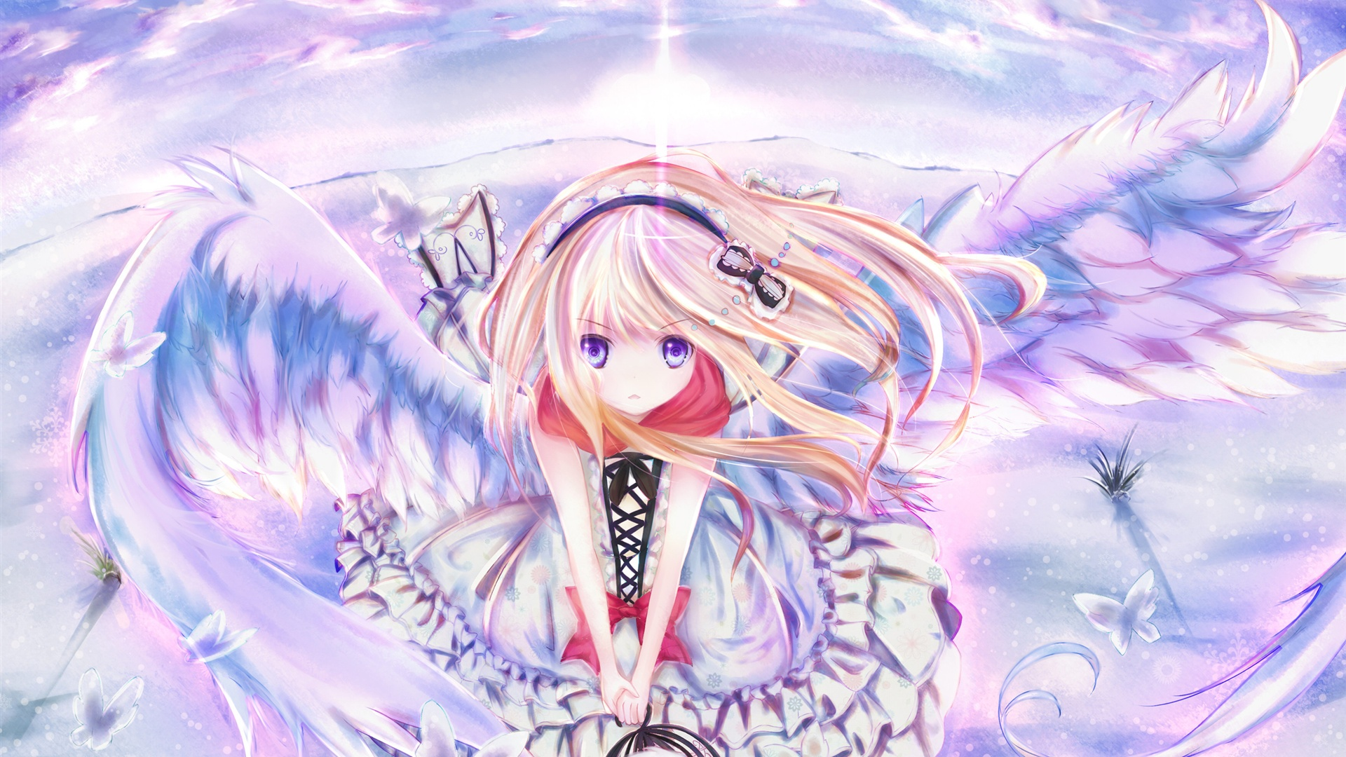 Anime Girl Angel Wings | Full HD Desktop Wallpapers 1080p