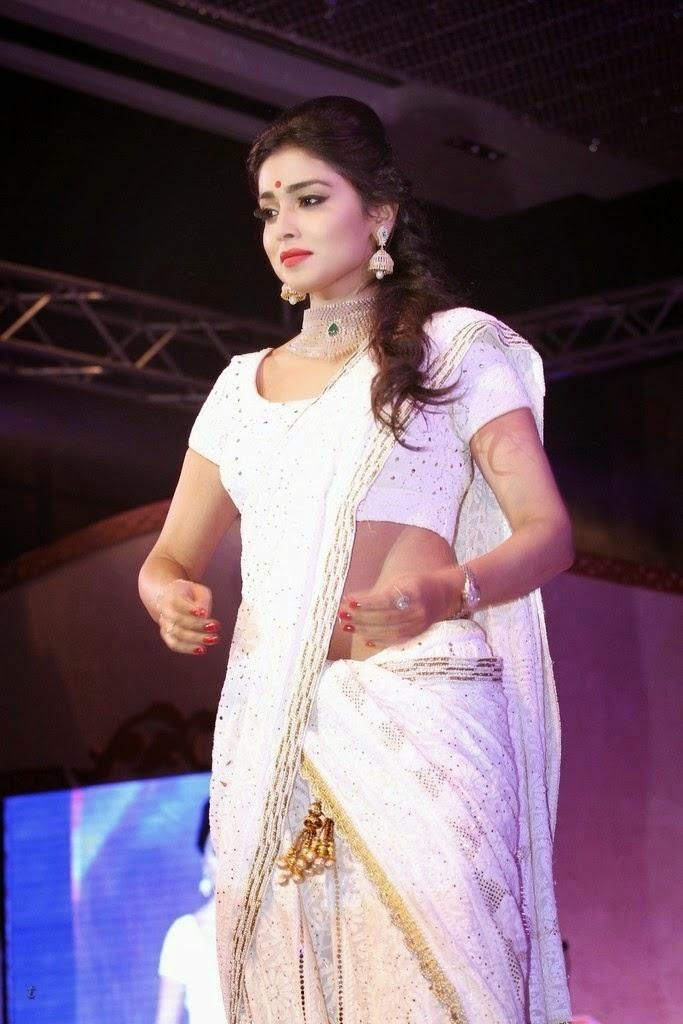 Shriya Saran Hot HD Wallpaper in White Saree Free Download