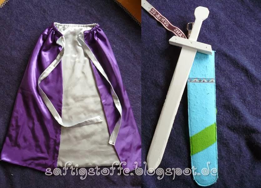 Ritter-Kostüm: Umhang aus Faschingssatin, Holz-Schwert mit Hülle aus Filz