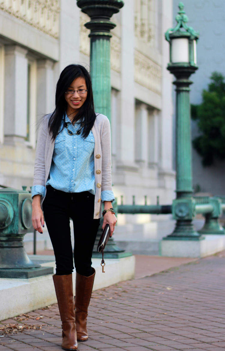 fall outfit idea layering sweaters
