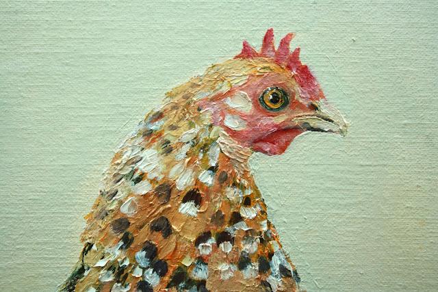 Portrait d'une petite poule rare