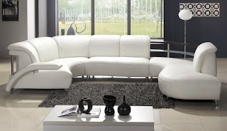 TOSH Furniture Modern White Bonded Leather Sectional Sofa