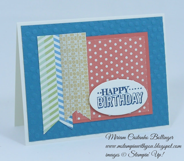 Miriam Castanho Bollinger, #mstampinwithyou, stampin up, demosntrator, fusion, birthday card, big day stamp set, big shot, oval collection framelits, decorative dots tief, banner triple punch, su