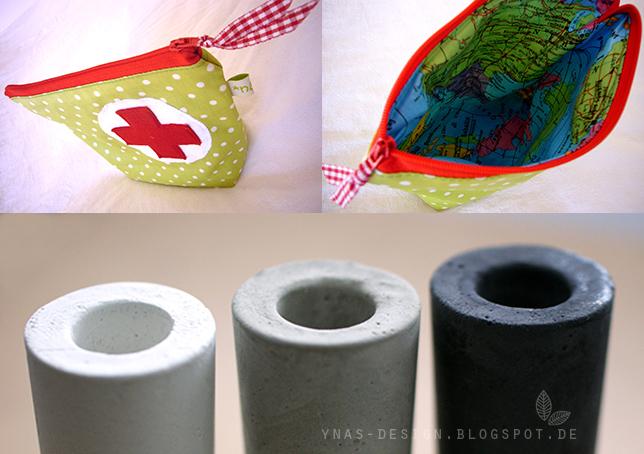 Ynas Design Blog, Erste Hilfe Tasche, Betonvasen