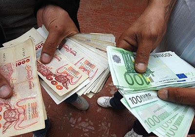 Prix de l'Euro et Dollar au marché du change parallèle (Algérie)