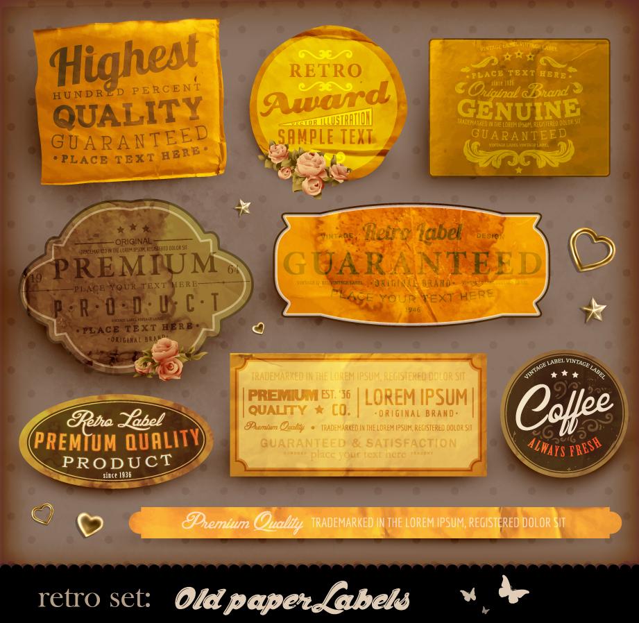 古びた紙にデザインしたラベル classic label stickers イラスト素材