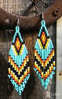 купить бирюзовые индейские этно серьги из бисера украина