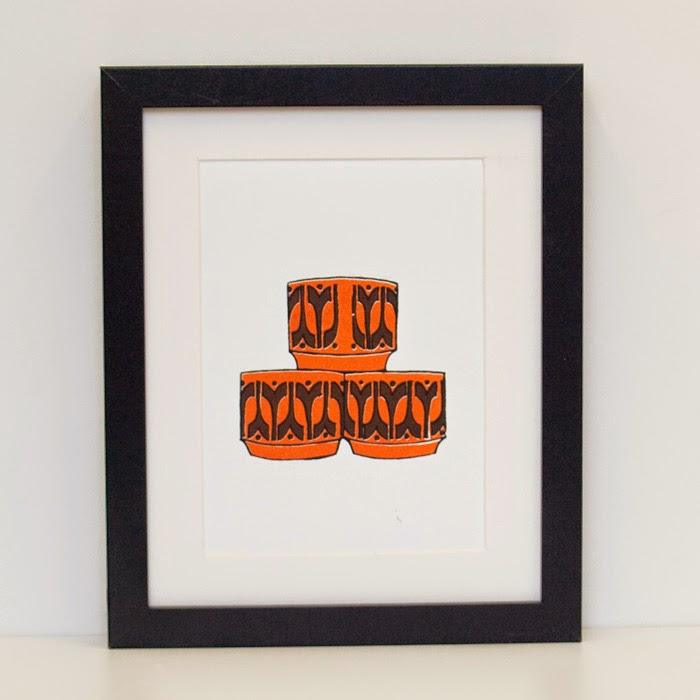 Vintage Style Hornsea Egg Cups Screen Print A5 by Welaughindoors