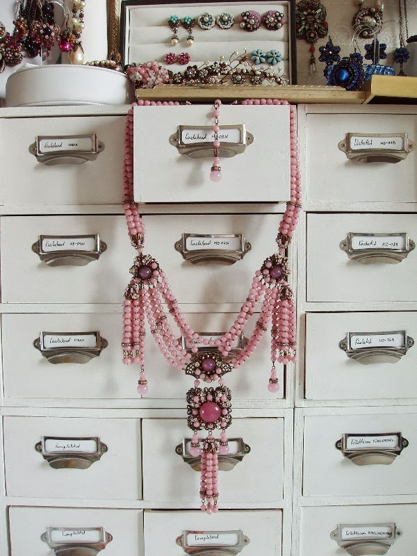 collier sautoir perles anciennes de verre crystal Swarovski bijoux Schmuck halskette perlen alte edelstein glas stein
