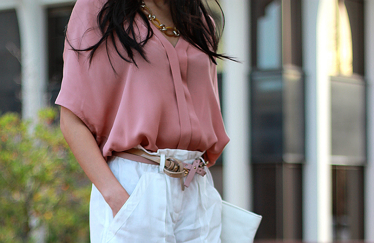 light color palette flowy blush silk blouse airy linen shorts bcbg joie double belt