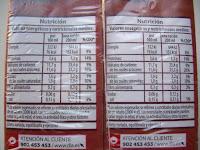 Información nutricional del batido al cacao DIA (BlogMarcasBlancas.com)