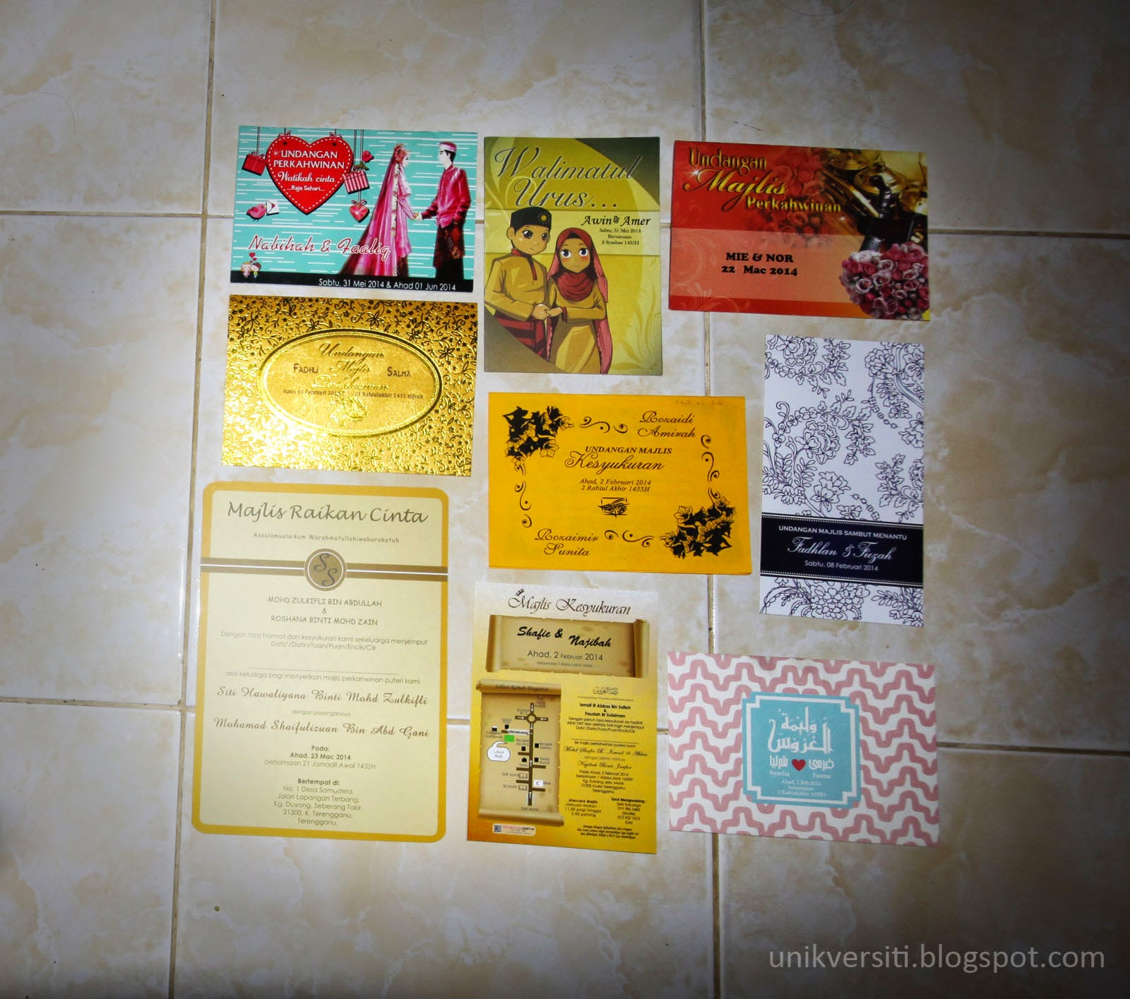 Kad Jemputan Kahwin tahun 2014