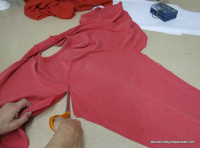 transformación de un sueter en blusa