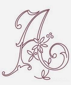 A flower calligraphy monogram tattoo stencils