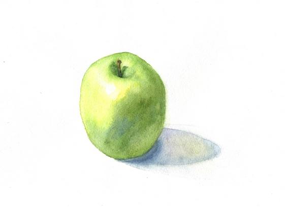 акварельное яблоко