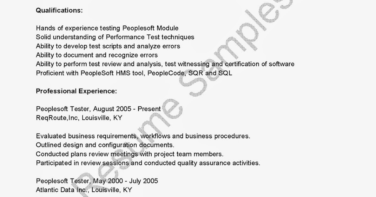 peoplesoft resume sample resume samples peoplesoft tester sample dental assistant people soft consultant - People Soft Consultant Resume