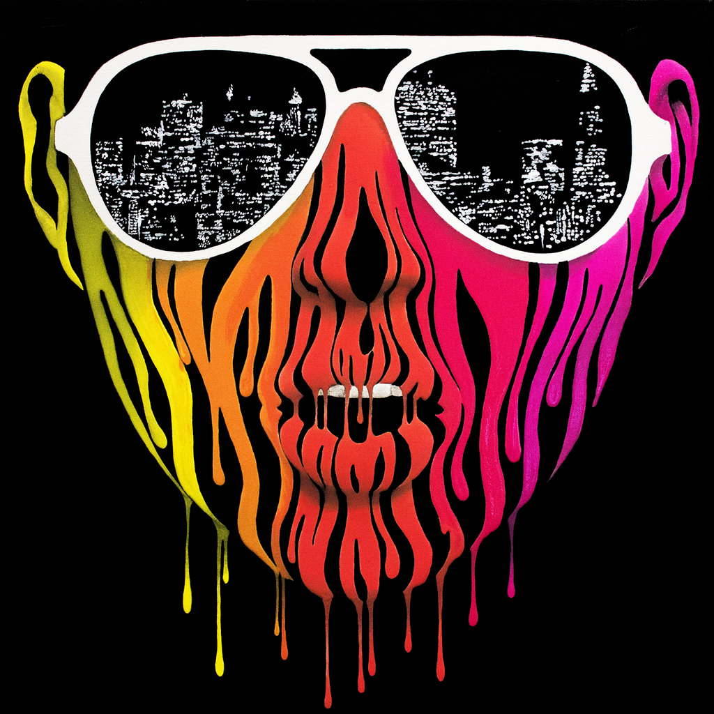 Painting of a girls face made of dripping colorful paint wearing sunglasses with the reflection of the city lights of san francisco. For the album cover of exit reality by Citabria.