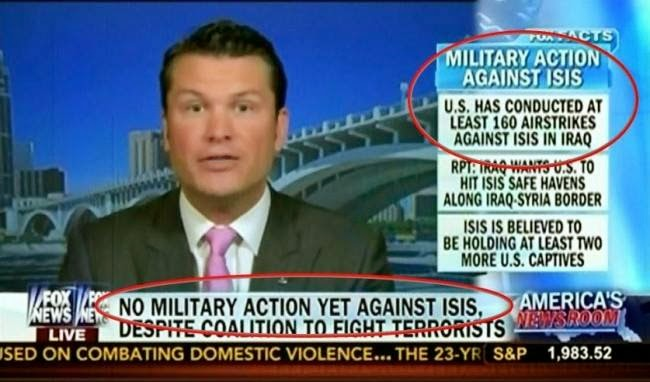 Doublethink: Media Reports No Military Action Against ISIS While Reporting Airstrikes Against ISIS
