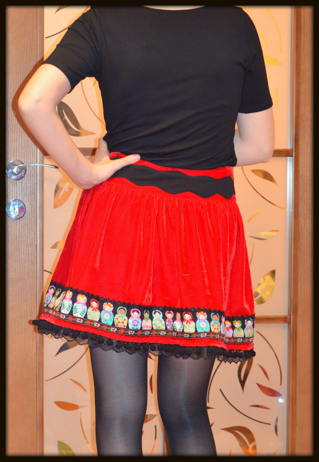 lace tape, matryoshka doll, pom poms tape, red velvet, ribbons applique, skirt, lace hem, decorated waistband
