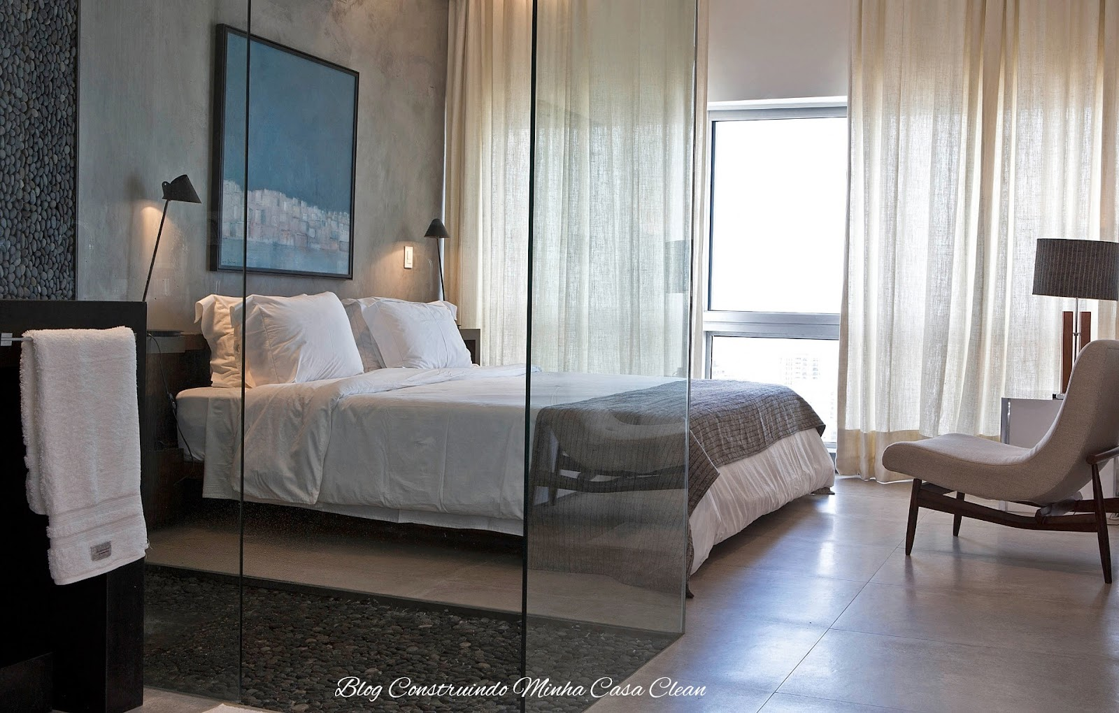 Minha Casa Clean: Quartos Integrados com Banheiros de Vidros #485F83 1600x1020 Banheiro Com Banheira Integrada
