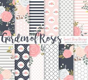 Digital Paper Garden Of Roses