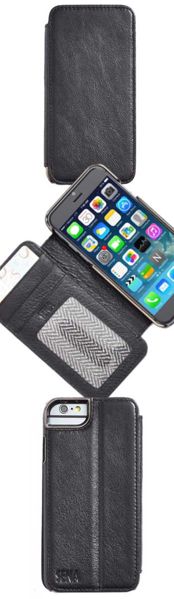 Sena 'Heritage Wallet Book' Leather iPhone 6 Case Black
