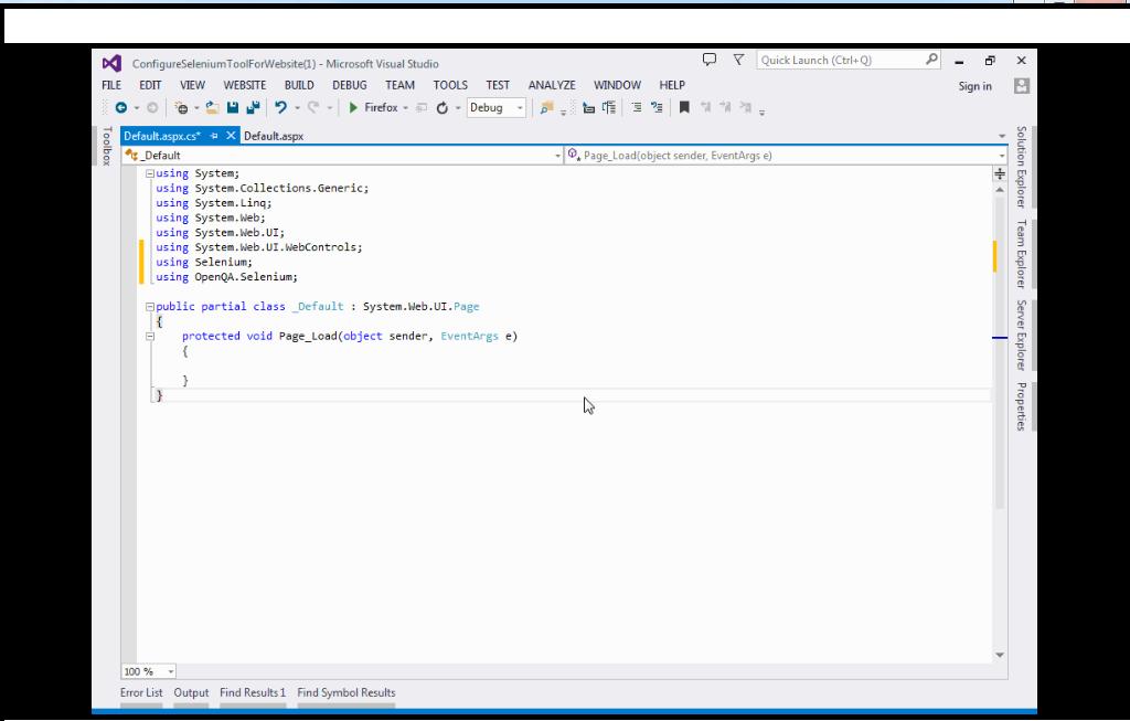 Selenium : Configure selenium tool for asp.net C# website or project in Visual StudioSelenium : Configure selenium tool for asp.net C# website or project in Visual Studio