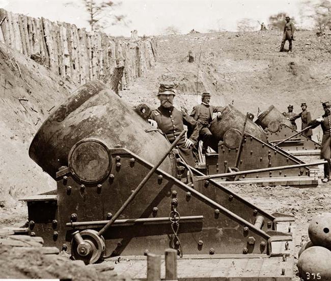 Batería de morteros en Yorktown