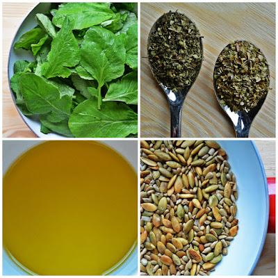 Pesto z liści rzodkiewki - składniki