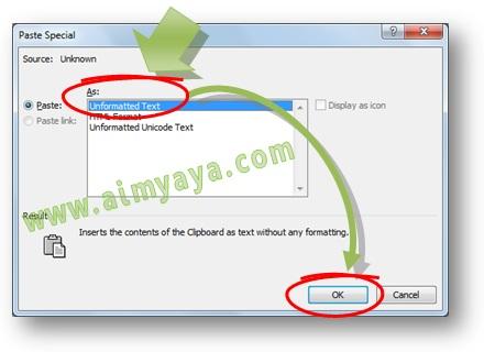 Gambar: Cara paste special untuk unformatted text (teks tanpa format) di Microsoft Word