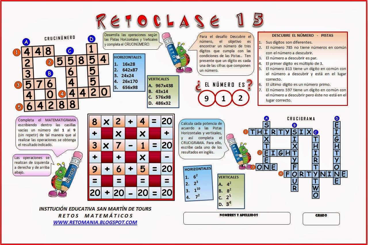 Retos matemáticos, desafíos matemáticos, problemas matematicos, Crucigramas, crucinúmeros, Descubre el número