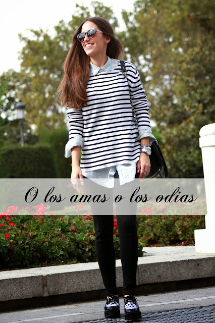 creepers, marinero, Black and withe, camisa boyfriend