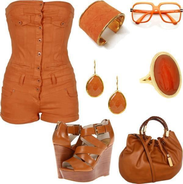 Dark orange tight blouse, skirt, high heel sandals, sunglasses and hand bag for ladies