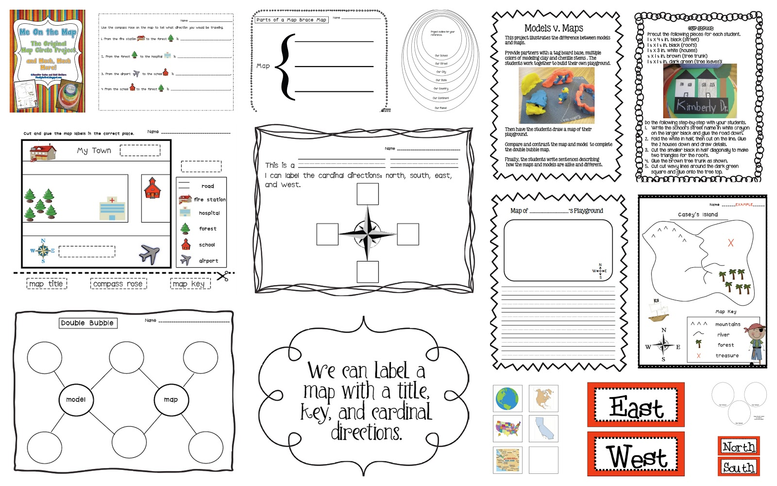 Finally in First: Me on the Map Unit printable worksheets, alphabet worksheets, grade worksheets, worksheets for teachers, free worksheets, and math worksheets Cardinal Direction Worksheet 1000 x 1600