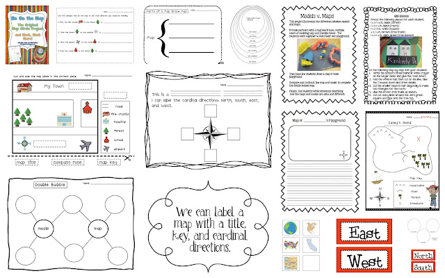 Cardinal Directions cards, map worksheet and activities title=