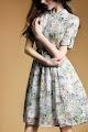 Half Sleeve Safari Park Print Cotton Linen Flare Dress
