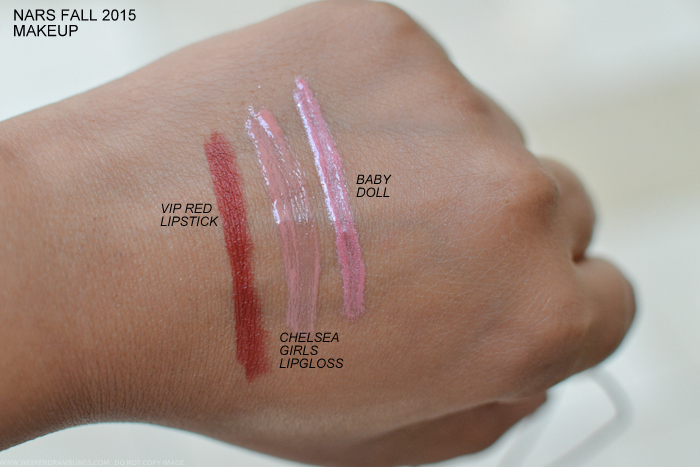 NARS Fall 2015 Private Screening Makeup Collection VIP Red Lipstick Chelsea Girls Babydoll Lip gloss Swatches
