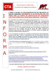 FIRMA CONTRA LA DISCRIMINACIÓN EN MATERIA DE SALUD LABORAL ADHIÉRETE A LA PETICIÓN DE CTA PARA QUE