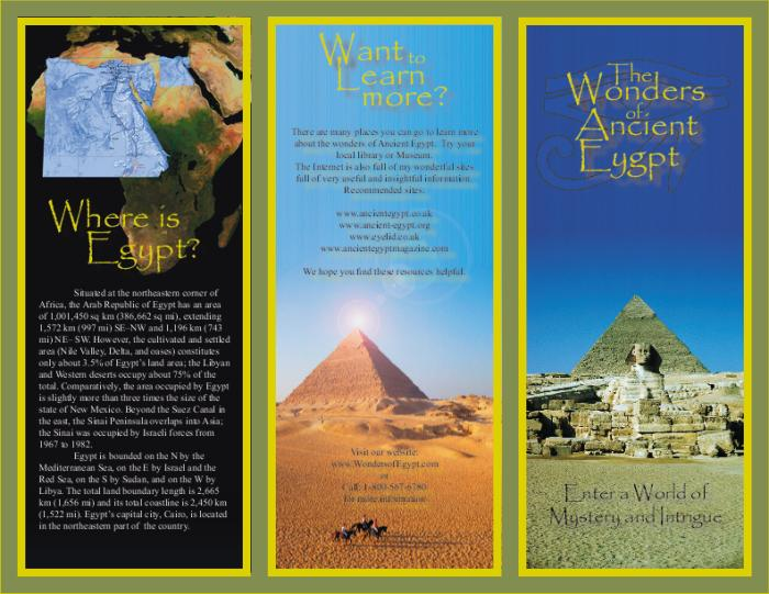 Brochure about egypt brochure designs pics for Ancient egypt brochure