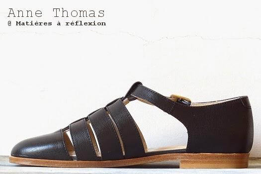Méduses cuir Anne Thomas chaussures d'été noires ouvertes