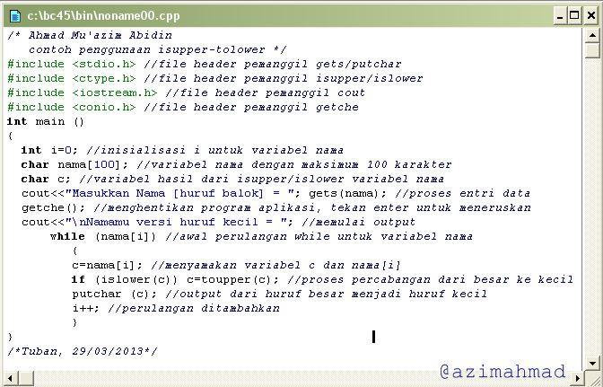 Gambar contoh program pengubah huruf besar/kecil C++.