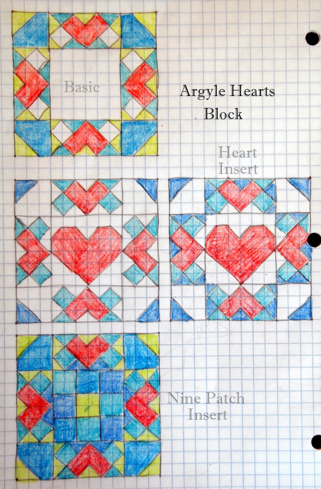 Quilt Patterns On Graph Paper : Modern Magnolia Studio: Fabri-Quilt Block Hop - Argyle Hearts Quilt Block Tutorial