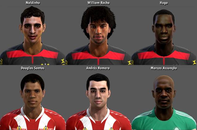 Naldinho, Willian Rocha, Hugo, Douglas Santos, Andrés Romero e Marcos Assunção Faces - PES 2013