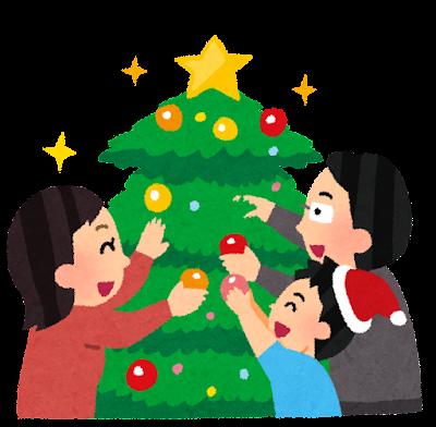 クリスマスツリーを飾り付ける家族のイラスト