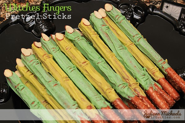 Witches Fingers Pretzel Sticks by Juliana Michaels