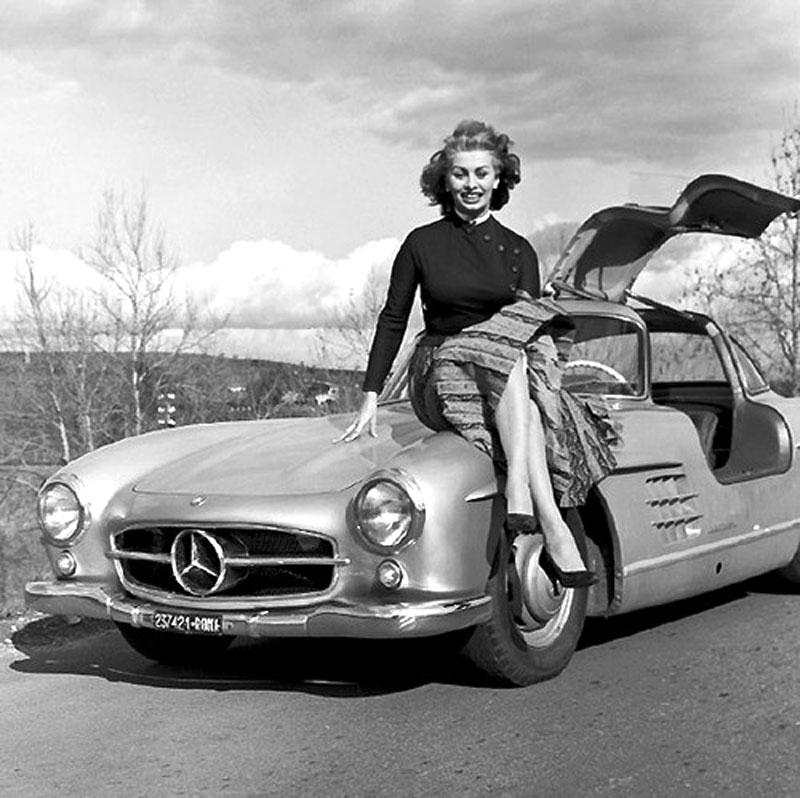 photo of Sophia Loren Mercedes Benz - car