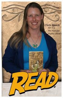Author Chris Eboch with The Eyes of Pharaoh novel