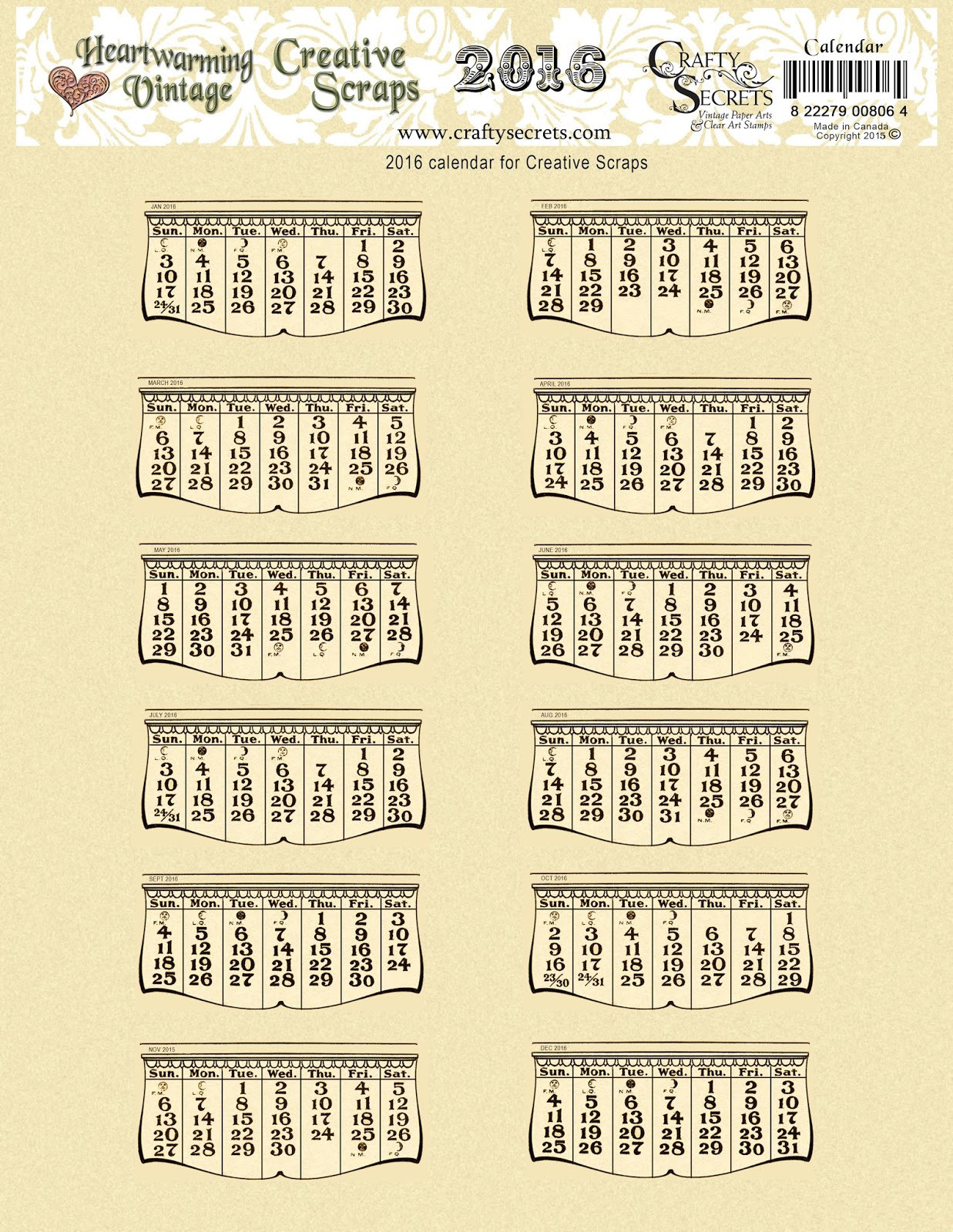 Vintage Calendar Template : Crafty secrets heartwarming vintage ideas and tips free