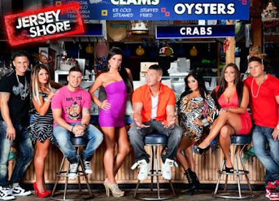 The cast of Jersey Shore at a seafood bar